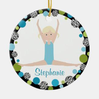 Sterngymnast-Blondine im Aqua und im Grün Rundes Keramik Ornament