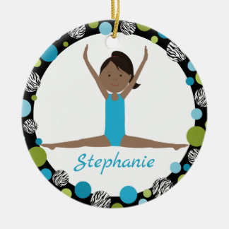 Sterngymnast-dunkles Haar-Pferdeschwanz im Aqua Rundes Keramik Ornament