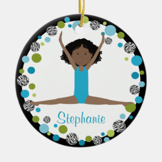 SternGymnast im Aqua und in grünem Rundes Keramik Ornament
