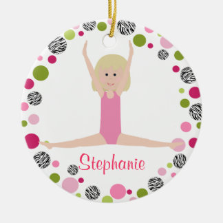 SternGymnast in den Rosa personalisiert Keramik Ornament
