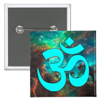 Sternhaufen-Aqua-OM-Symbol Quadratischer Button 5,1 Cm