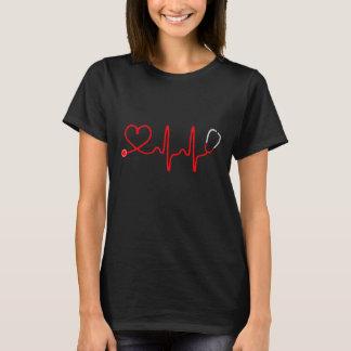 Stethoskop-Herz-Krankenschwester-T-Shirt - T-Shirt