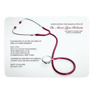 Stethoskop-lädt roter medizinische SchulAbschluss 12,7 X 17,8 Cm Einladungskarte