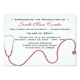 Stethoskop-medizinische SchulAbschluss-Einladung 12,7 X 17,8 Cm Einladungskarte