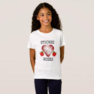 stiches u. schwarze Buchstaben der Rosen T-Shirt