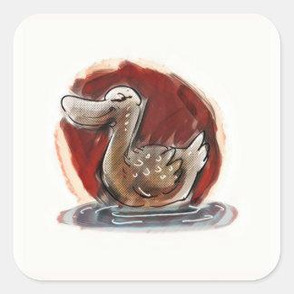 Sticker Carré canard sur l'illustration de style de bande
