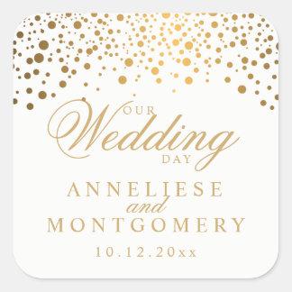 Sticker Carré Nos points d'or de jour du mariage sur le blanc |