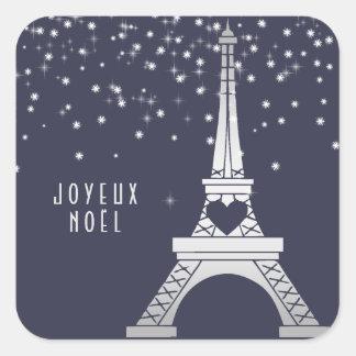 Sticker Carré Tour Eiffel avec le Joyeux Noël de la neige | à