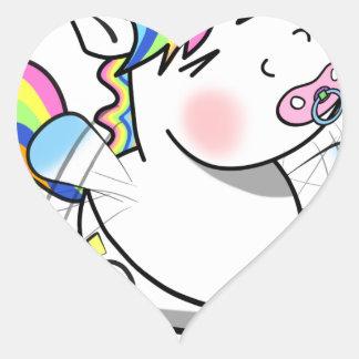 Sticker Cœur Licorne de bébé