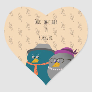 Sticker Cœur Rétro amour d'oiseaux d'illustration ensemble pour