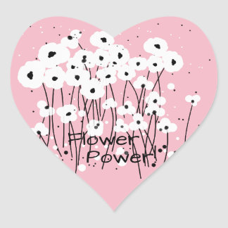"Sticker Cœur STICKER_ CHIC "" flower power !"" POPPIES_DIY BLANC"