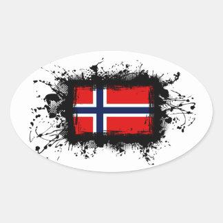 Sticker Ovale Drapeau de la Norvège