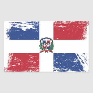 Sticker Rectangulaire Drapeau grunge de la République Dominicaine
