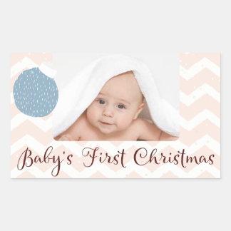 Sticker Rectangulaire Premier Noël du bébé avec la photo