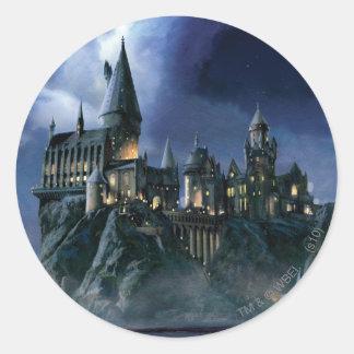 Sticker Rond Château | Hogwarts éclairé par la lune de Harry