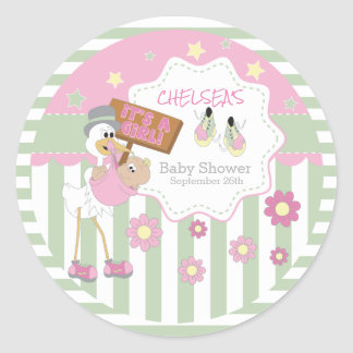 Sticker Rond Douche de bébé de cigogne de bébé