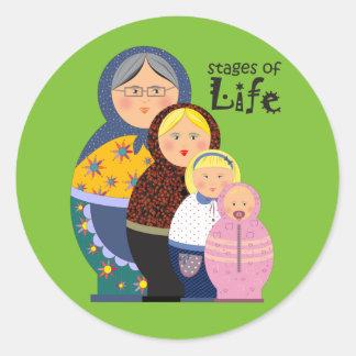 Sticker Rond Étapes de Matryoshka d'illustration de la vie