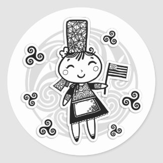Sticker Rond Fille bretonne
