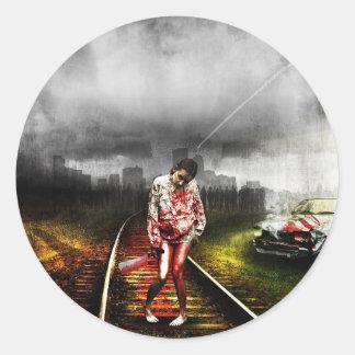 Sticker Rond Illustration artistique d'apocalypse de zombi