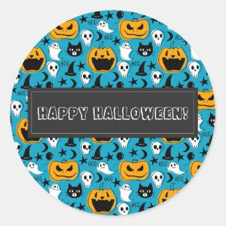 Sticker Rond Illustration de créatures de Halloween