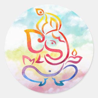 Sticker Rond Illustration de Ganesha sur l'arrière - plan en
