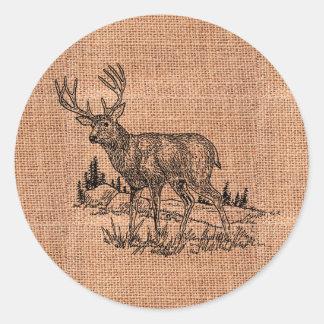 Sticker Rond Illustration rustique de toile de jute et de cerfs