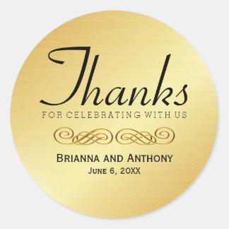 Sticker Rond Joint d'autocollant de Merci de mariage d'or merci