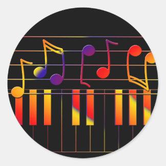 Sticker Rond La musique colorée note l'illustration