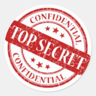 Sticker Rond Le blanc confidentiel extrêmement secret de timbre