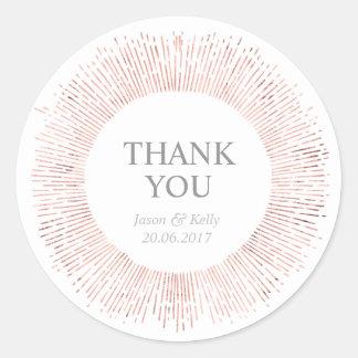 Sticker Rond Le mariage rose élégant d'or vous remercient