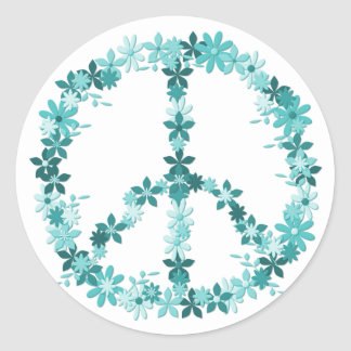 Sticker Rond Symbole de paix flower power