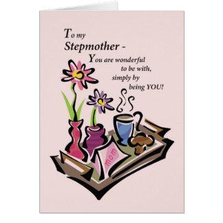 Stiefmutter, der Tag der Mutter, Frühstück im Grußkarte