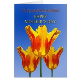 Stiefmutter, der Tag der Mutter, Tulpen voll des Grußkarte