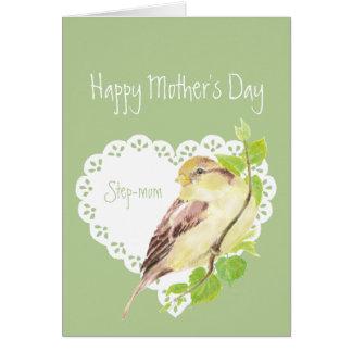 Stiefmutter-niedlicher Spatzen-Vogel der Mutter Karte