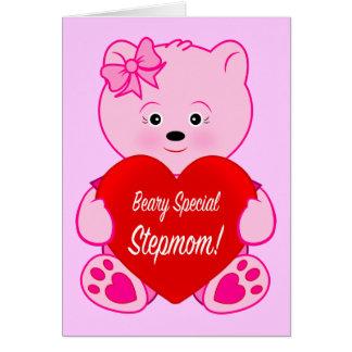 Stiefmutter-Teddybär mit Herz-alles Gute zum Grußkarte