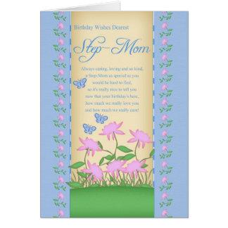 Stiefmuttergeburtstagskarten-Blumen und Grußkarte