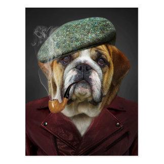 Stier-Hund mit Kappe und Rohr Postkarte