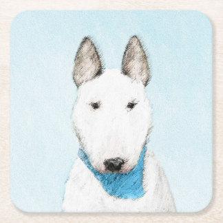 Stier-Terrier-Malerei - niedliche ursprüngliche Rechteckiger Pappuntersetzer