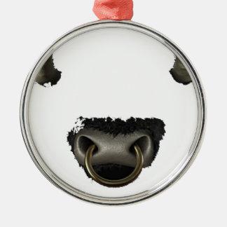 Stiergesicht voll rundes silberfarbenes ornament