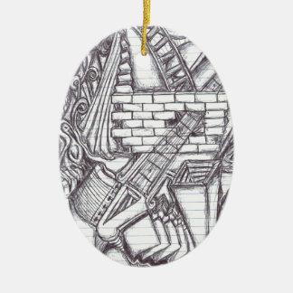 Stift-Gekritzel-Muster Keramik Ornament