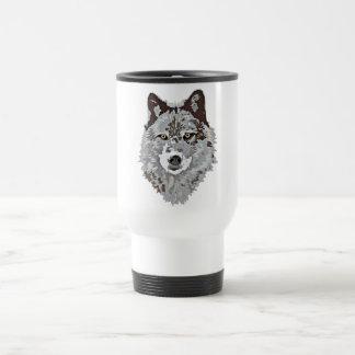 Stilisierter Wolf-Kopf Reisebecher