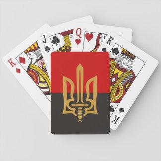 Stilisiertes Tryzub und Rot-Schwarze Flagge Spielkarten