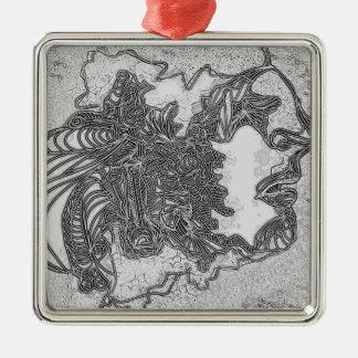 Stiller Mann Silbernes Ornament