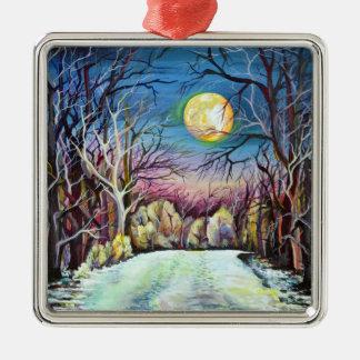 Stiller Nachtwinter-Vollmond in Schweden Silbernes Ornament