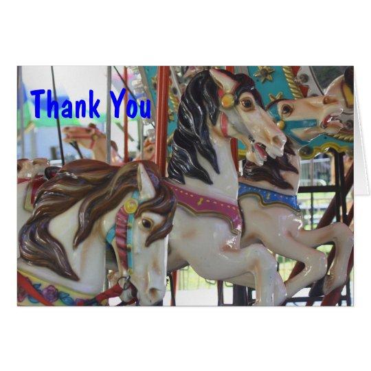 Stilles Prancers Karussell-Pferd danken Ihnen zu Mitteilungskarte