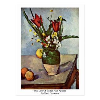 Stillleben der Tulpen und der Äpfel durch Paul Postkarte