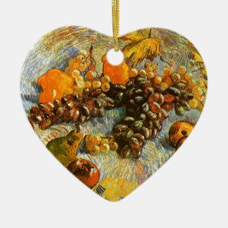 Stillleben mit Äpfeln, Birnen, Trauben - Van Gogh Keramik Herz-Ornament