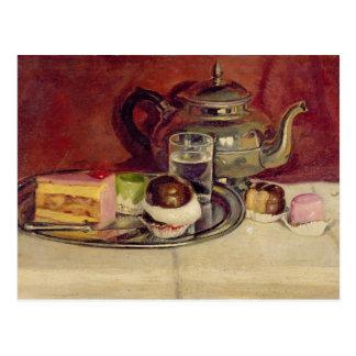 Stillleben mit Kuchen und einer Silber-Teekanne Postkarten
