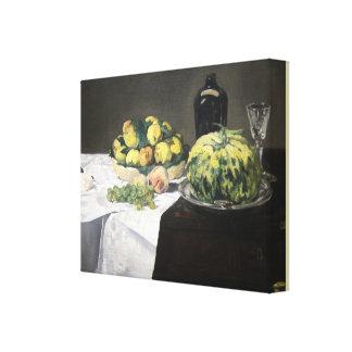 Stillleben mit Melone und Pfirsichen durch Edouard Leinwanddruck