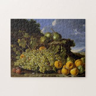 Stillleben mit Platte der Trauben, Pfirsiche,